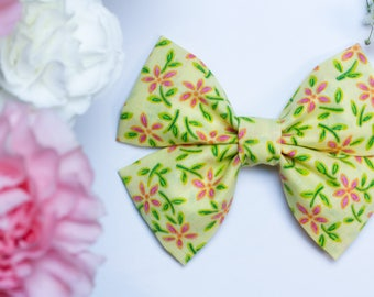 Spring Time Yellow & Pink Floral Hair Bow|Bow Tie|Nylon|Alligator Clip