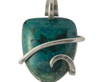 Handmade Chrysocolla Stone Pendant Wrapped in Sterling Silver Wire