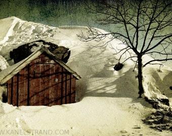 Winter fairytale, snowy landscape, tiny wooden house, Norway, Scandinavia