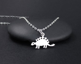 Stegosaurus Necklace, Dinosaur Necklace, Sterling Silver Dinosaur Charm, Prehistoric Jewelry, Jurassic Jewelry
