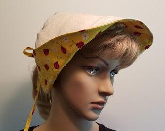 Sun Protection Hat, Garden Hat, Reversible Hat, Handmade Hat, Spring Hat, Summer Hat, Ladybug Hat, Duck Canvas Hat, Yellow Hat, Red Hat