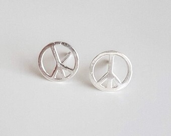 Peace Sign Earrings, Sterling Silver Earrings, 90s Jewelry, Grunge Jewelry, Bohemian Earrings,Peace Sign Jewelry, Hypoallergenic Studs