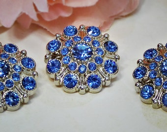 Large Rhinestone Buttons Sapphire BLUE- Rhinestone Crystal buttons Embellishments Acrylic Flower centers Headband Supplies 28mm 3 pcs 597040