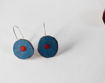 Colorful Blue and Red Dot Earrings - Geometric Design - Glass Enamel  OOAK