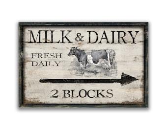 Milk and Dairy sign farmhouse signs farm sign modern farmhouse decor cow signs cow art farm animals kitchen signs milk signs dairy signs