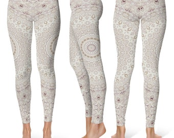 Cream Leggings Yoga Pants, Mandala Printed Yoga Tights for Women, Boho Festival Clothing