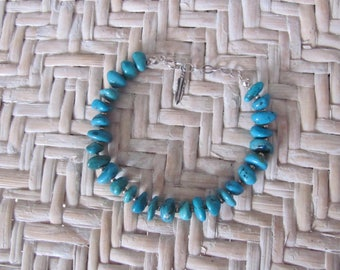Navajo Turquoise Nugget Bracelet, Signed Scott Dave, Artisan Sterling Silver, Native American Jewelry