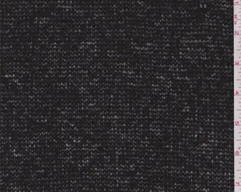 Matte Black Wool Blend Sweater Knit, Fabric By The Yard