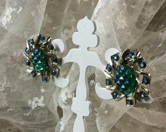 Atomic Teal Green Blue Lucite Rhinestone Gold Tone Sparkling Earrings Clip On 1960's 1970's Pineapple Textured Feminine Woman Day Wear