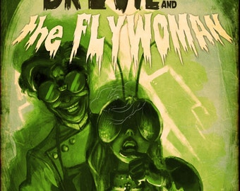 Dr. Evil and the Flywoman | Vintage Movie Poster | Mad Scientist