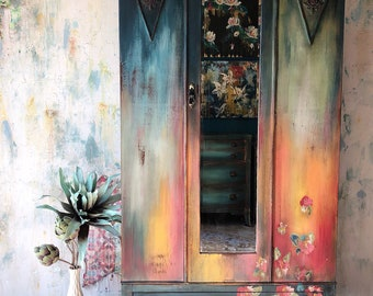 SOLD Bold Boho Armoire Storage Cabinet with Hand Painted Flowers