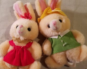 Vintage Russ boy and girl bunnies