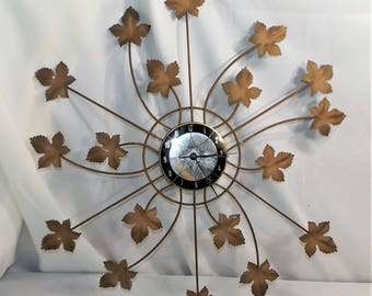 Vintage Mid-Century Modern Electric Wall Clock with Leaf Design