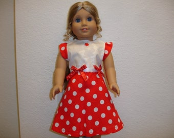 """18"""" Doll Chic Summer Dress Red and White Dot"""