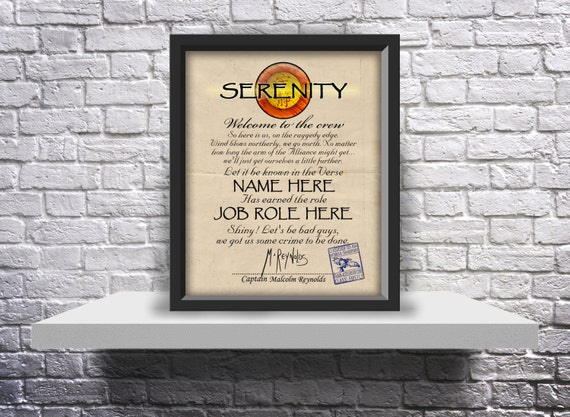 Custom Firefly Serenity ship crew acceptance letter - Choose Inserts, and Size