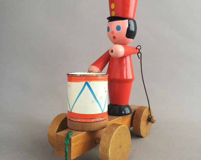 decorative vintage wooden toy drummer