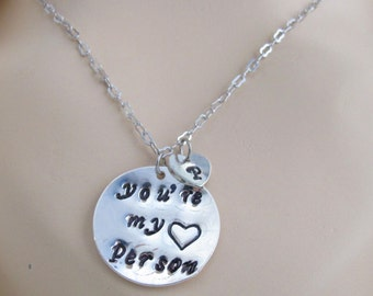 You're my person, Youre my person necklace Best Friend Gift - Personalized Initial Jewelry - Grey's Anatomy Heart Gift Free Shipping in USA