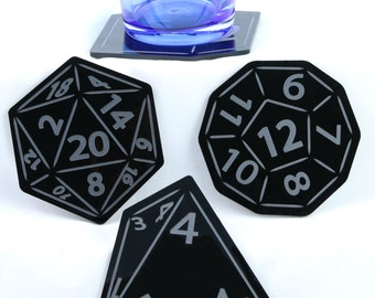 Game dice coasters perfect for Dungeons and Dragons night. Set of 4.