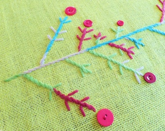 Burlap Embroidered Chartreuse Table Runner - Handmade Christmas Scandinavian Design - Branches, Red Buttons