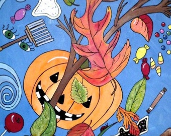 Fall Harvest original Halloween/fall artwork