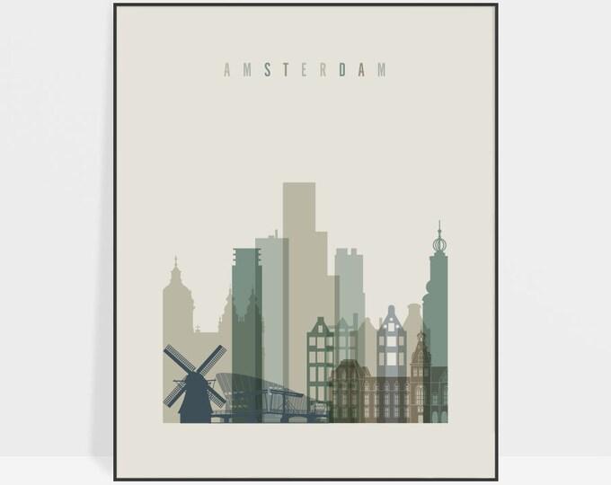 Amsterdam poster, print, Wall art, Travel gift, Amsterdam skyline, City poster, Netherlands art, Home Decor, Digital Print ArtPrintsVicky