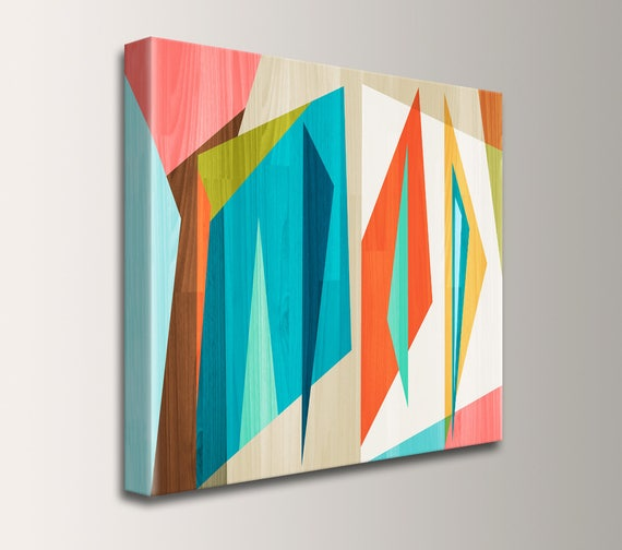 "Square Mid Century Wall Art on Canvas Teal and Orange Digital Print Geometric Art Modern Art Retro Loft Art Home Decor  ""Correlation"""