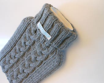 TheCraftyElks: Hand Knitted Hot Water Bottle Cover (Cosy) in Light Grey - Wool Blend