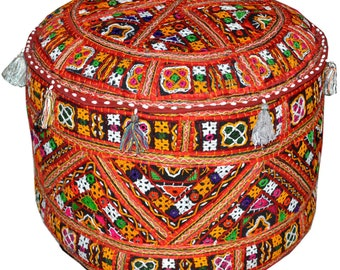 Traditional Handmade Pouf Ottoman Indian Foot Stool Bench Chair Ikea Poufs Vintage Patchwork Ottoman Floor Cushion