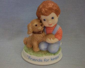 """Avon Tender Memories """"Friends for Keeps"""" Figurine, Avon, Boy with Dog Figurines, Avon Collectibles, Friends Figurines"""
