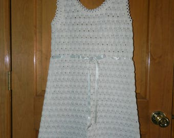 Sweet White/Cream Crochet or Knit Mini-Dress - Vintage 1960s - Empire Waist - Sleeveless - Ribbon or Cord Tie in Front - About Size 9