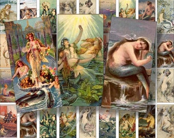 Vintage Mermaids in Domino size 2x1 inchesfor pendant, scrapbook and more digital collage sheet No.133