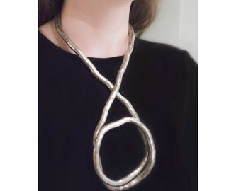 Sculptural Necklace / Brutalist Jewelry / 70s Necklace / Statement Jewelry