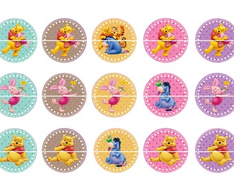 "WINNIE THE POOH 1 Inch Bottle Cap Image-  4"" X 6"" Digital Image- Instant Download"