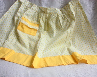 Vintage apron, Vintage Yellow Apron, Yellow Cotton Apron,