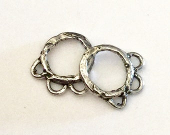 TWO Smaller Earring Components Sterling Silver Organic  002/E09