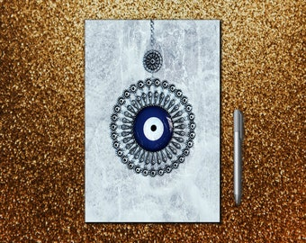 Evil Eye Guardian Protection Journal, Notebook, Sketchbook, Diary, or Log - Small and Large