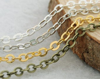 10 meters Brass 3x4mm chains, 4x3mm chain, oval chains SC0