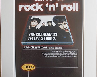 THE CHARLATANS Tim Burgess Tales Of Rock N Roll Tellin' Stories 1997 Original Vintage Music Press Advert In Mounted Presentation