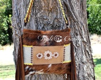 Cowhide and Leather Shoulder Bag Wallet Set - Hand Tooled Leather SALE