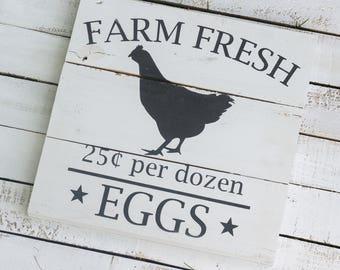 Farm Fresh Eggs Wood Sign - Farmhouse Sign, Fixer Upper Style, Farmhouse Kitchen, Kitchen Wall Decor, Farmhouse Style, Reclaimed Wood Sign