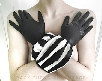 Rare 80s Couture Balloon Leather Gloves Stripe Striped Black White Small Vintage 80's Accessories