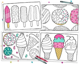 Printable Coloring Pages Pizza Donut Party Adult Kids Ice Cream Instant Download Digital