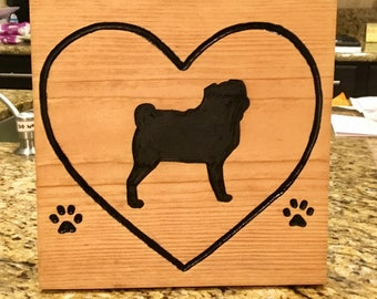 Wood Pug Personalized Dog leash holder- your pets name and their breed routed into the wood. A hook added to hang their leash and harness.