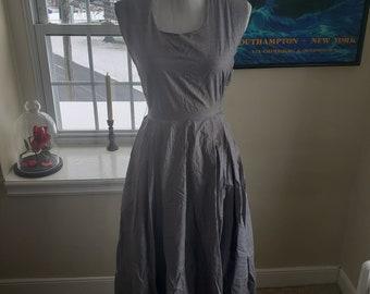1950s Blue Herringbone Dress