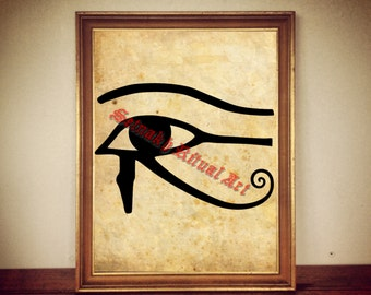 Eye of Horus print, egyptian illustration, sacred eye poster | occult print, antique rustic vintage home decor, altar 164