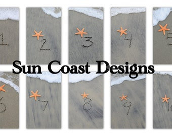 Beach Sand Writing -  Table Numbers 1 - 10 for wedding or party