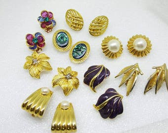 Golds Bezel glass Enamels Pearls Shell  Clip Earrings Retro lot 8 pair Bold Well made