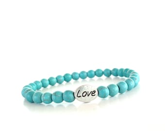 Love Mala Bracelet Turquoise Yoga Jewelry Bohemian Unique Heart Gift For Her Christmas Stocking Stuffer Bride Bridesmaid Under 50 Item S58