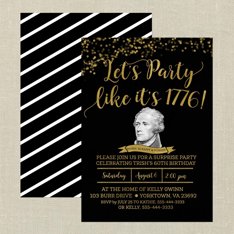 Hamilton birthday invitationblack and gold hamilton the zoom filmwisefo Images