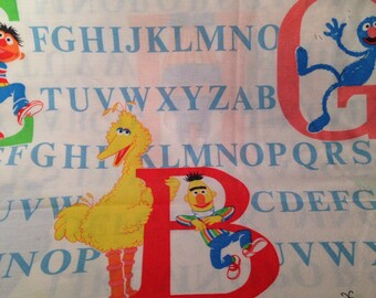 Vintage Sesame Street alphabet twin flat sheet